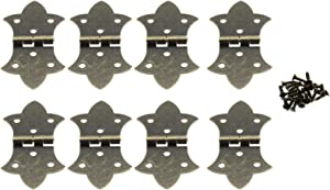 Antique Decorative Hinges,LBTODH 8 pcs Retro Bronze Iron Butt Hinges Jewelry Box Hardware Accessories for Making/Repairing Small Wooden Box Project,with Screws(Bronze)