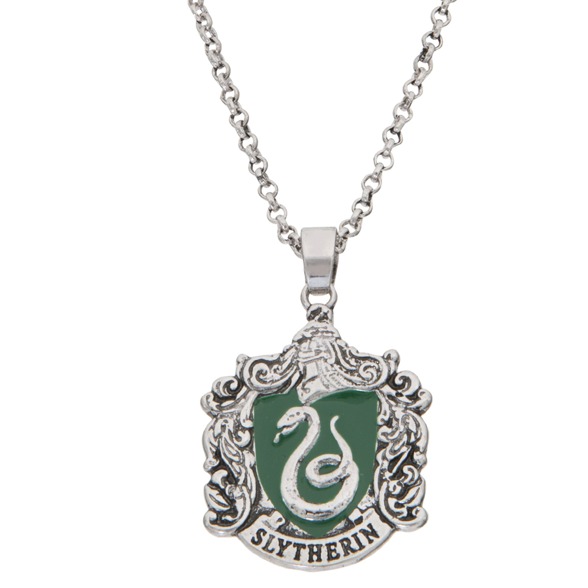 Harry Potter Jewelry for Women and Girls, Silver Plated Slytherin House Pendant, 16'' Chain with 2'' Extender