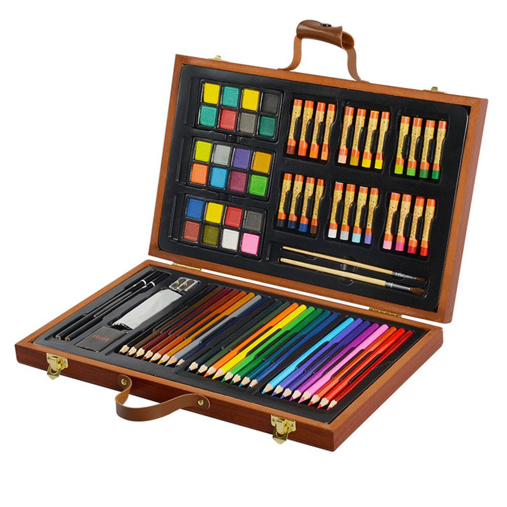 79Pc Deluxe Wood Art Set for Kids in Wooden Box for Beginners or Budding Artists Kids Adults (79pcs) conda