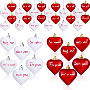 24 Pieces Valentines Day Heart Ornaments Heart Shaped Baubles Heart Ornaments with Letters for Valentine Party Decoration Supplies (Red, White)