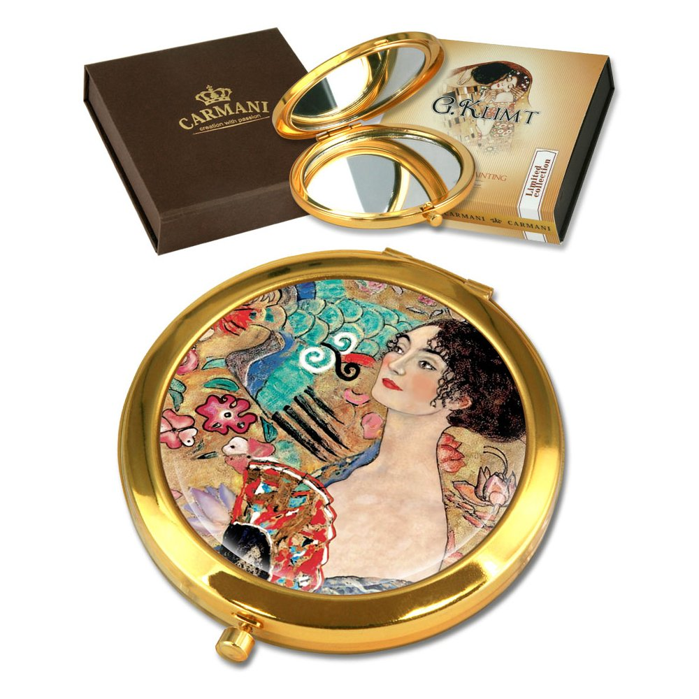 CARMANI Gustav Klimt 'Lady Fan' Pocket Mirror, Gold Plated Bronze Make-up, Compact, Travel Mirror