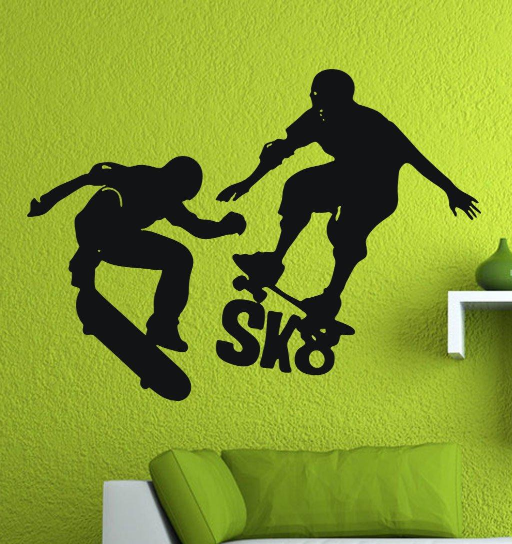 Amazon com jcm custom skateboard skater sk8 skate removable wall vinyl decal stickers 30 x 22 home kitchen