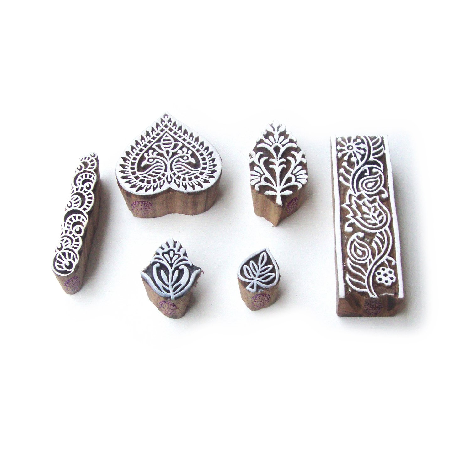 Hand Crafted Heart and Leaf Motif Block Print Wood Stamps (Set of 6)