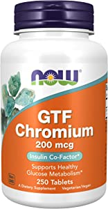 NOW Supplements, GTF (Glucose Tolerance Factor) Chromium 200 mcg, 250 Tablets