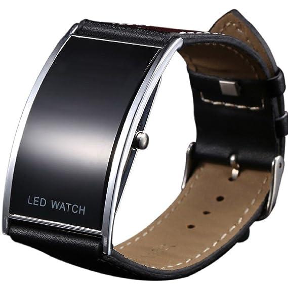 Reloj de pulsera digital con LED de correa ancha, ultrafino, duradero, color negro, unisex: Amazon.es: Relojes