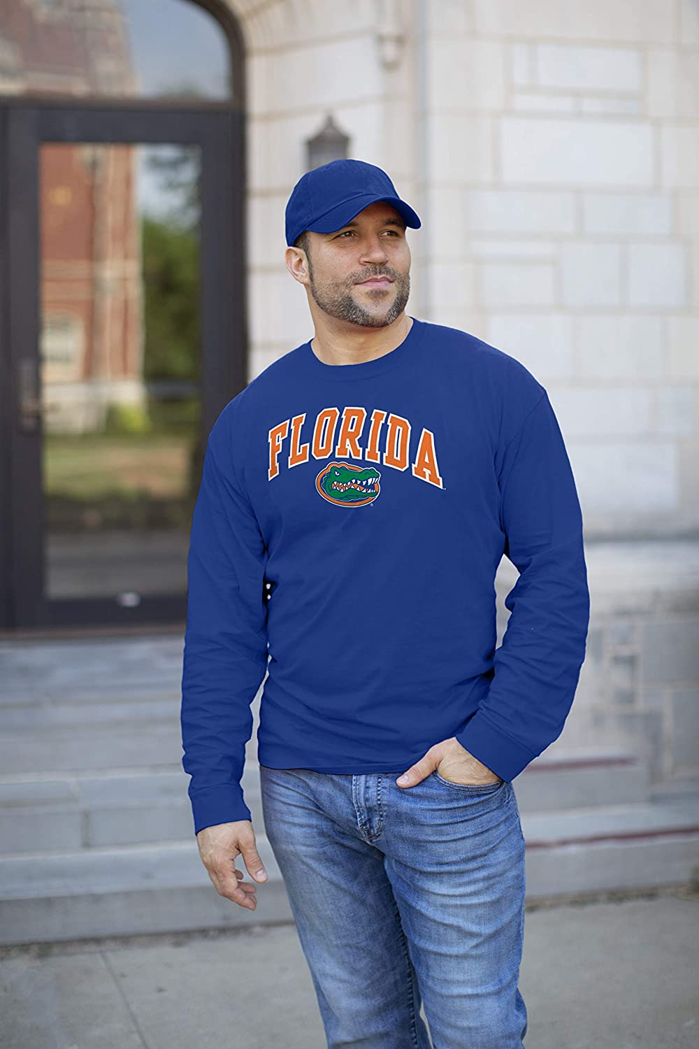 Elite Fan Shop Team Color Basic Long Sleeve College Arching T-Shirt