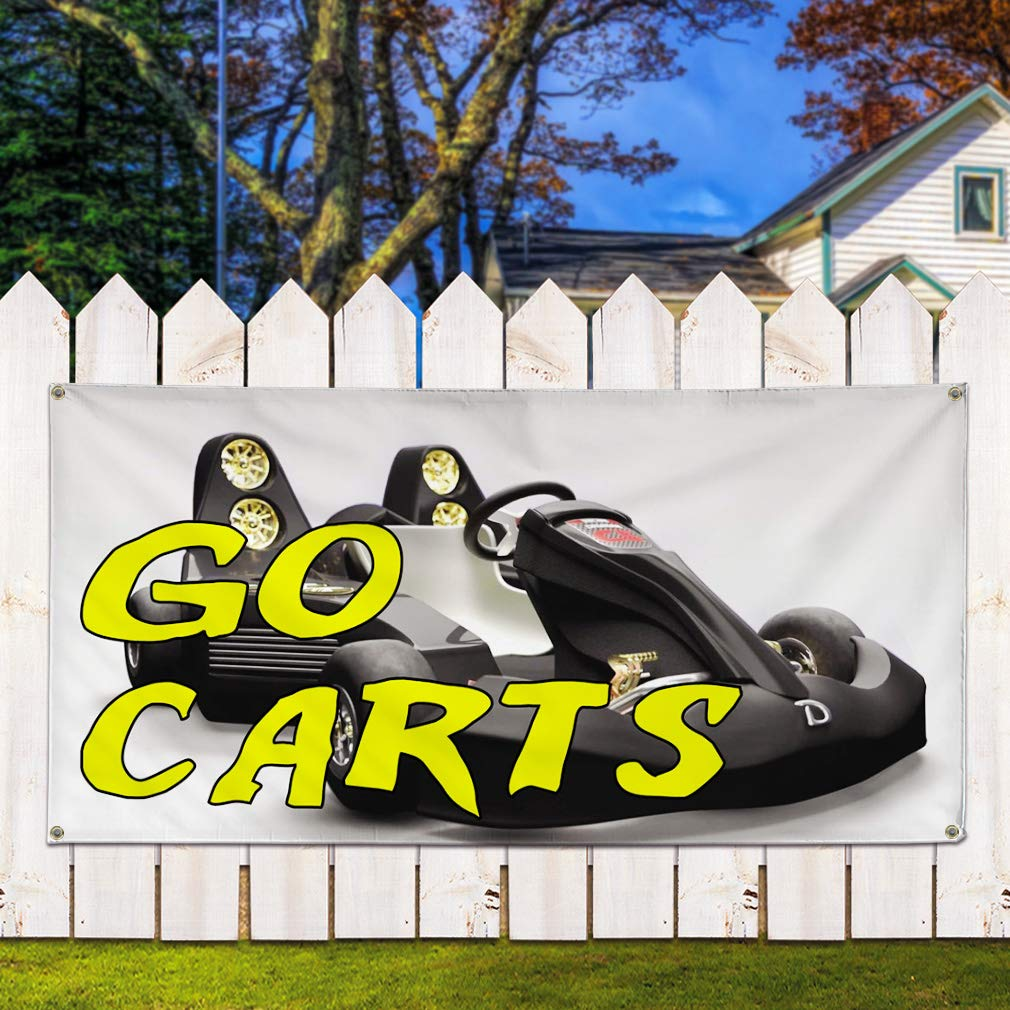Multiple Sizes Available Vinyl Banner Sign Go Carts #1 Business Go Carts Outdoor Marketing Advertising White 8 Grommets 48inx96in One Banner