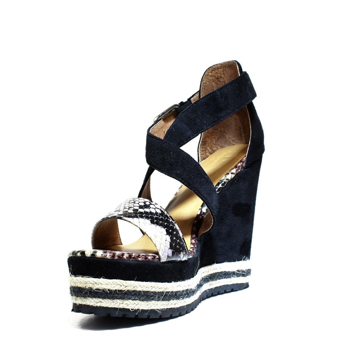 a78cf3ada485 La Fame LA5-8 Negro Zapatos del Ante Sandalias de cuña, tacón Alto ...