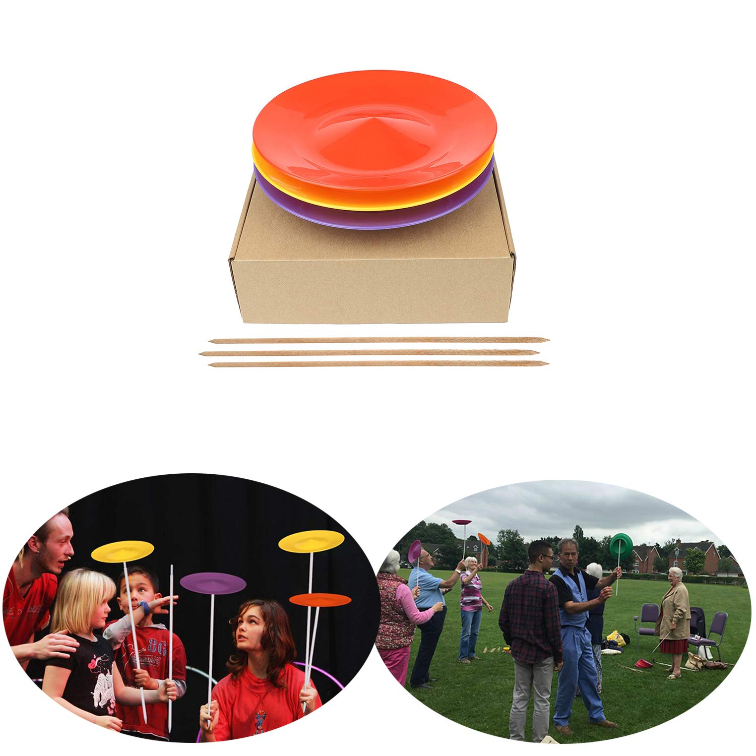 YuXing Professional Spinning Plates / Juggling Plates Set of 3 (11'' 3.8OZ Red Yellow Purple) with 3 Durable Sticks (22.6 Inches 0.7 Ounce) Fit All by YuXing TOY (Image #1)