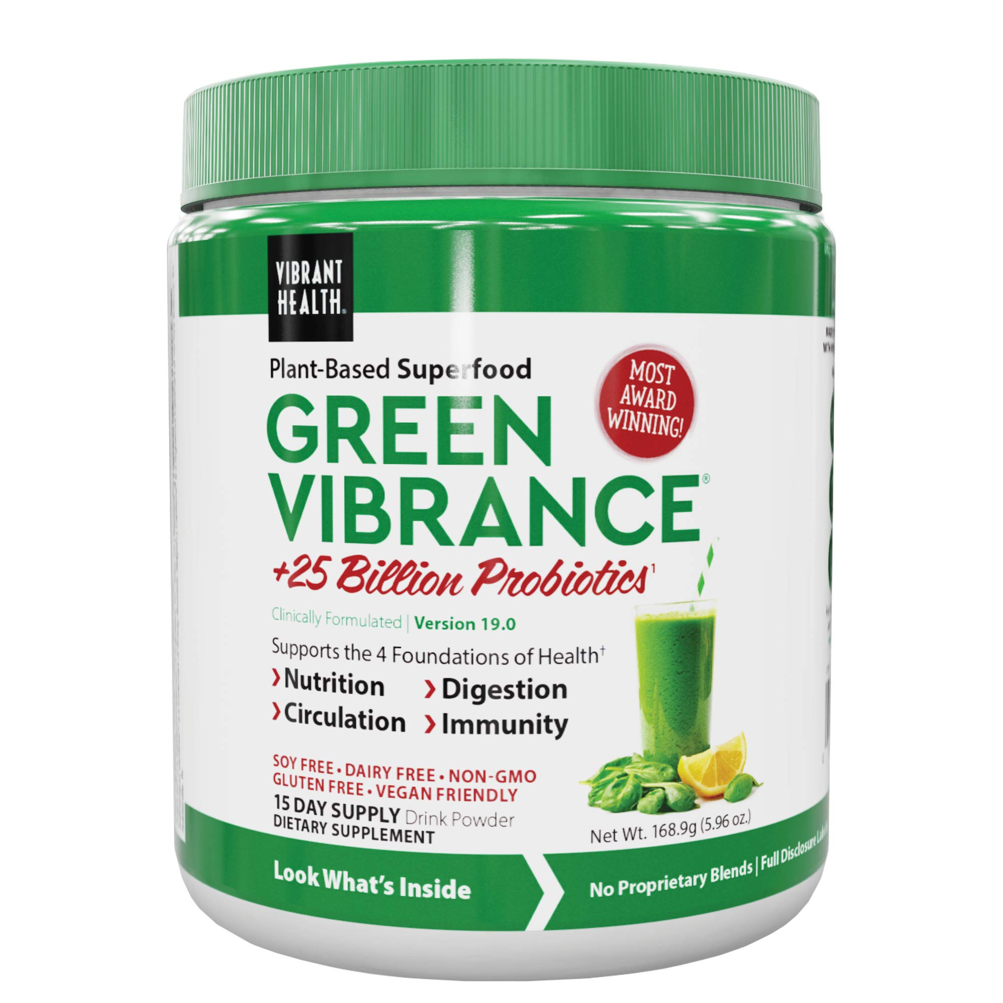 Vibrant Health, Green Vibrance, Vegan Superfood Powder, 15 Servings (FFP)