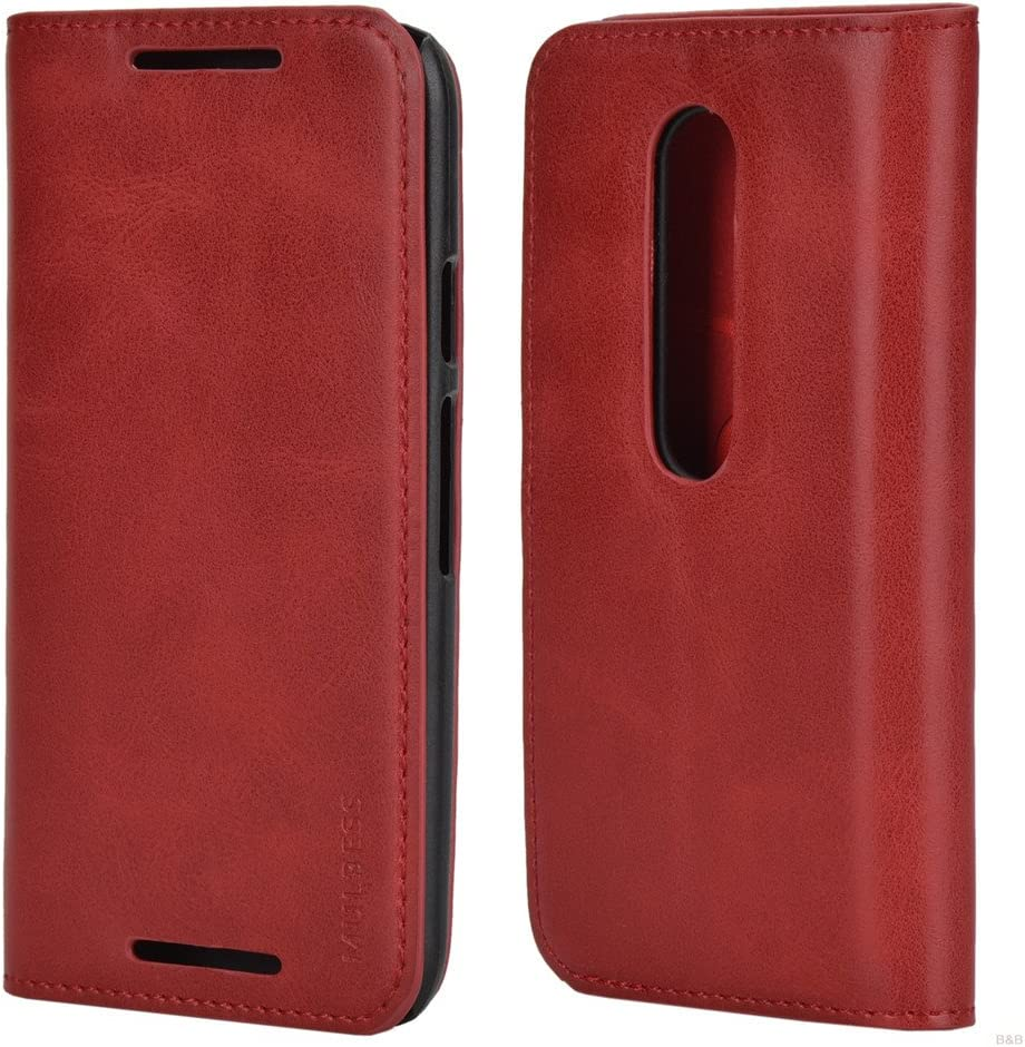 Mulbess Funda Motorola Moto G 3rd [Libro Caso Cubierta] Slim de Billetera Cuero de la PU Carcasa para Motorola Moto G 3 Gen Case, Vino Rojo