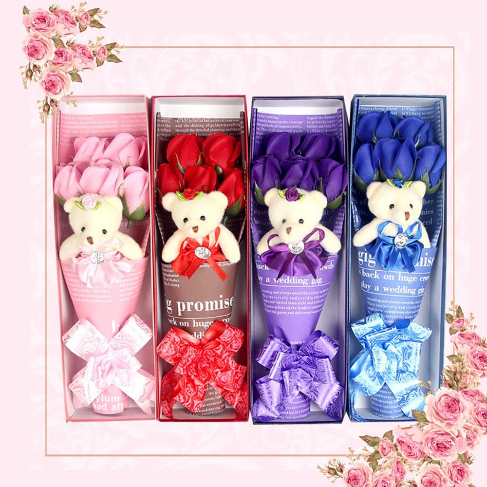 JYSPT - Ramo de Flores de jabón de baño con Oso para decoración de casa, jardín, Fiesta, Boda, Rojo, 34 * 10 * 7cm: Amazon.es: Hogar