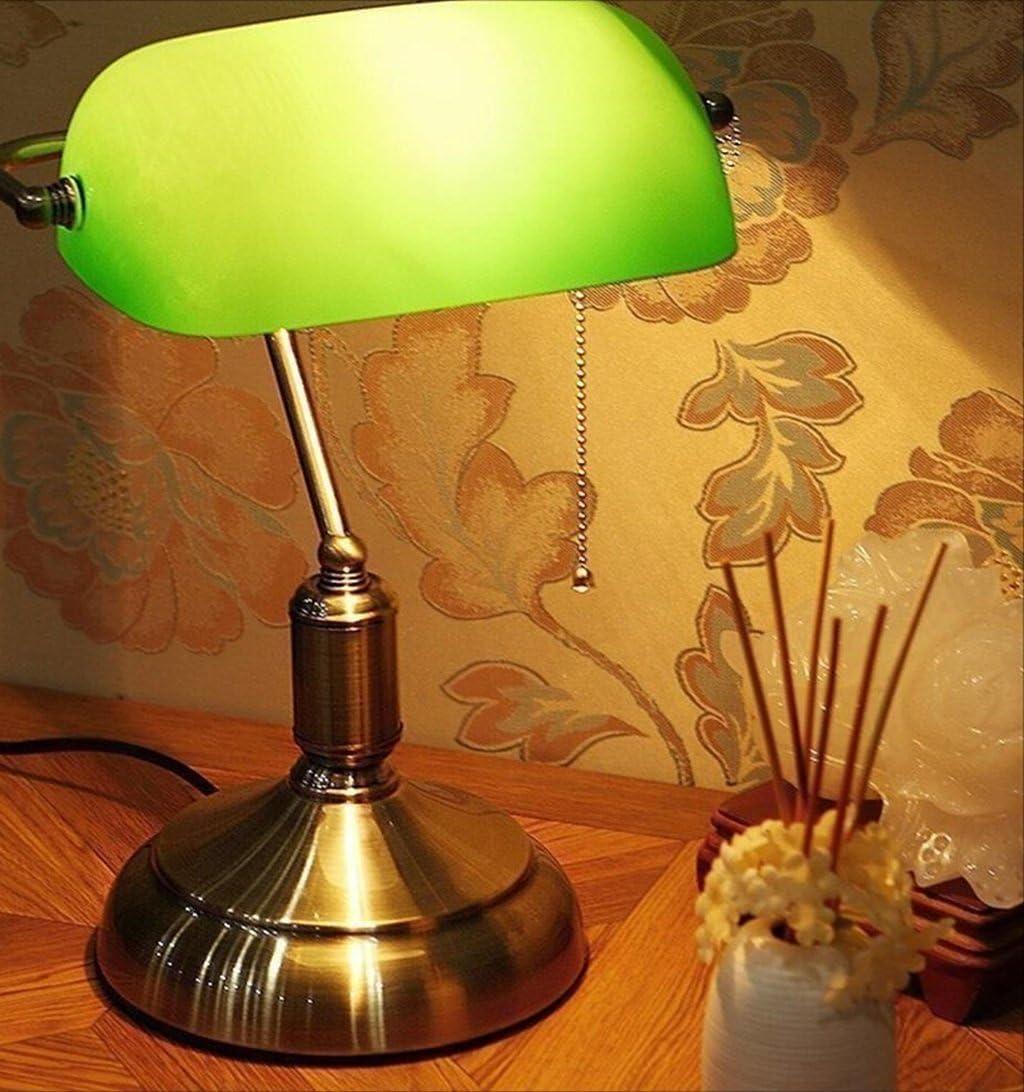 DENGJU Antigua l/ámpara de Escritorio de Shanghai l/ámpara de Banco de Banco cl/ásico Chino l/ámpara de Banco l/ámpara de Banco Dormitorio Estudio rep/ública Verde Cala Color : Glass Lampshade