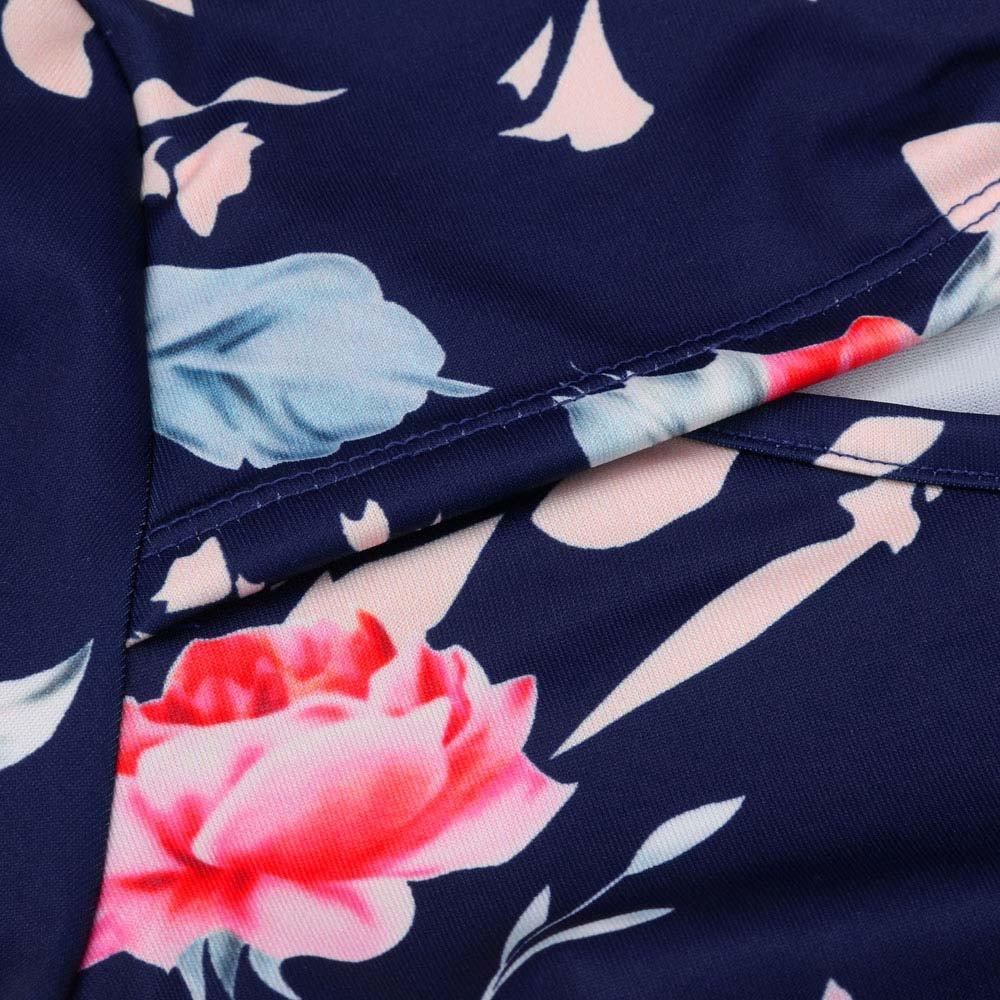 Jumpsuits for Women Floral Short Sleeve Pocket Beachwear Romper Jumpsuit Bodysuit (S, Navy) by Chanyuhui (Image #6)