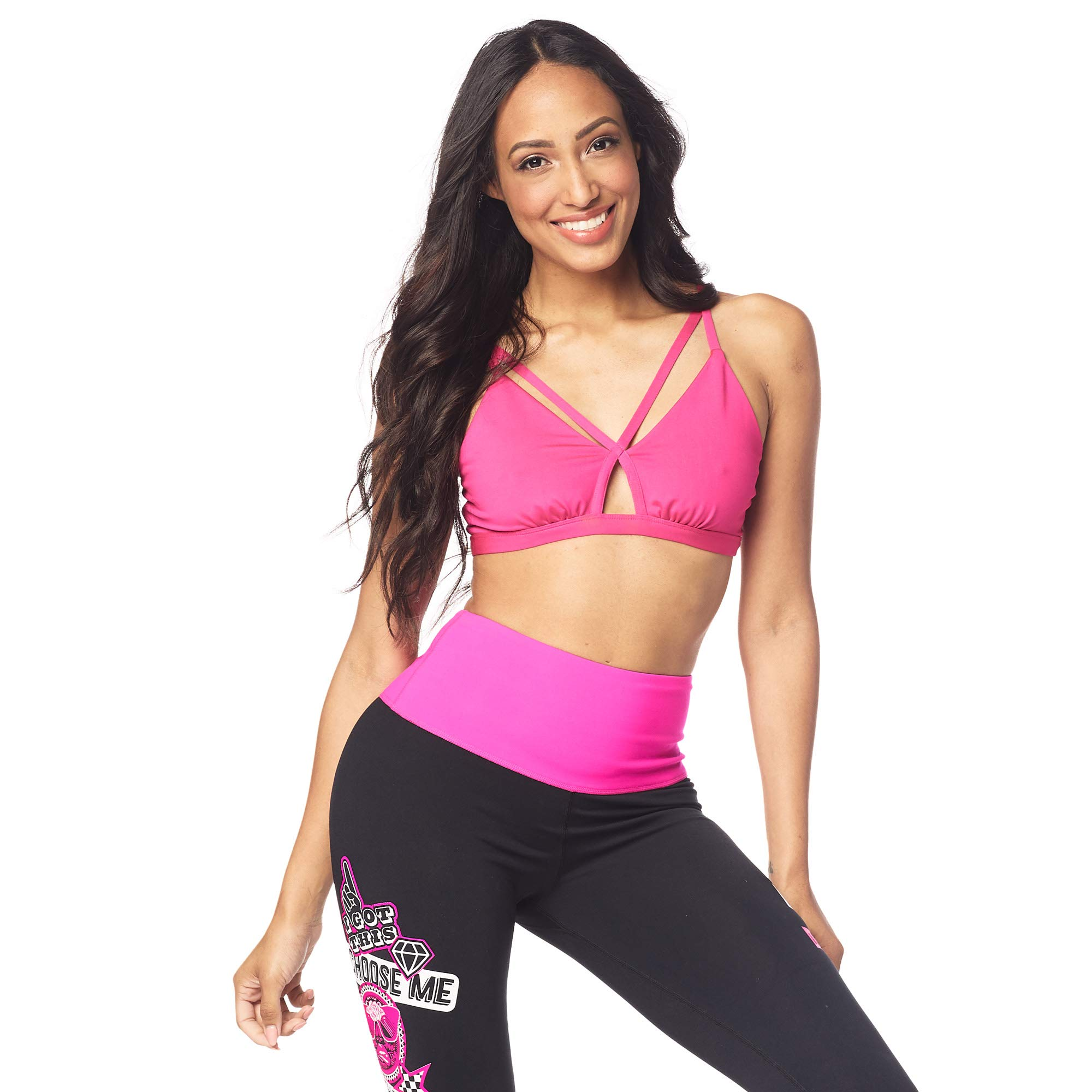 Zumba Women's Women's Activewear Fashion Print Bralette with Straps, Pink Shocking, X-Small
