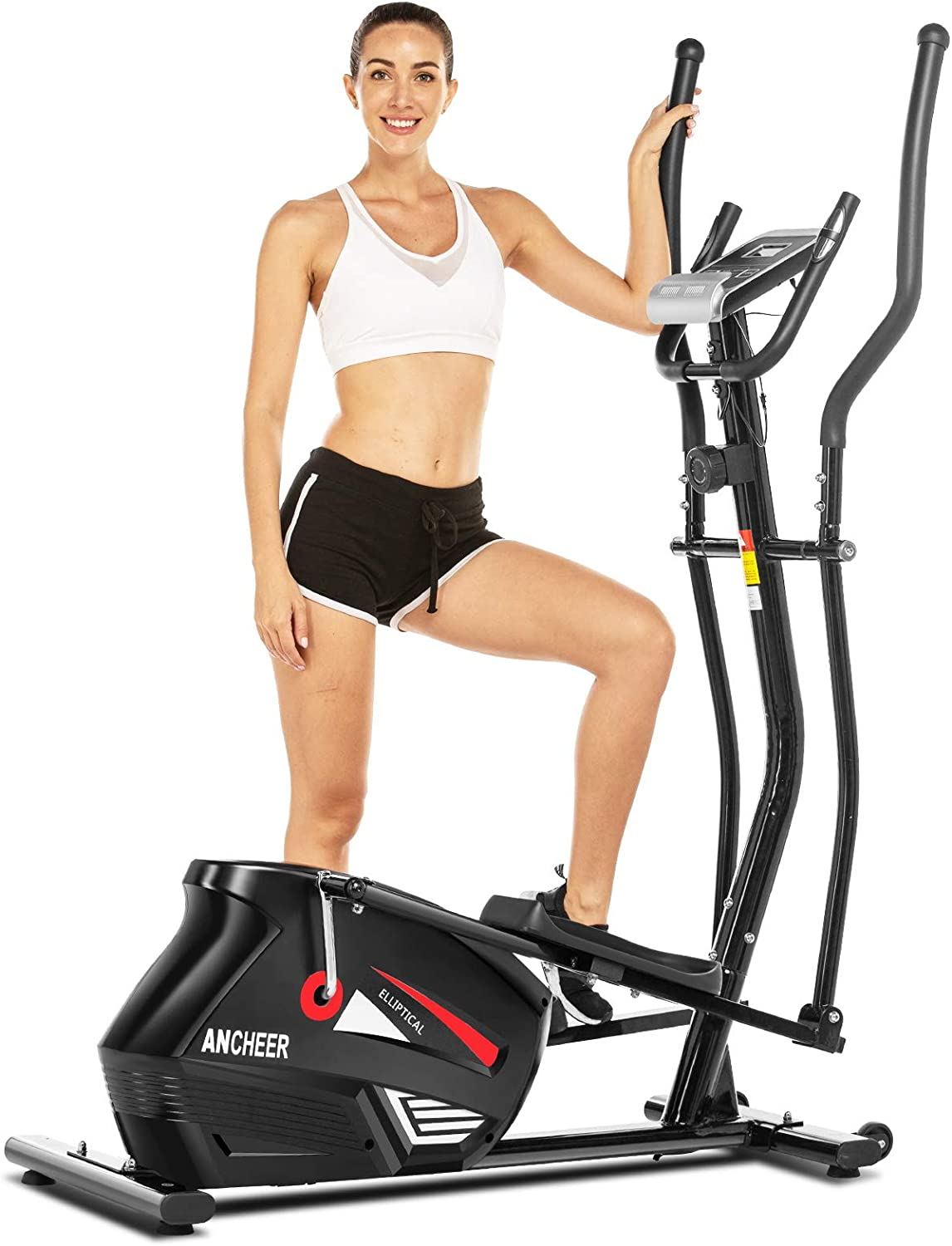ANCHEER Eliptical Exercise Machine, Magnetic Elliptical Cross Trainer Machine with 3D Virtual APP Control, Updated Top Levels Compact Exercise Machine Smooth Quiet Driven for Home Use (Gray)