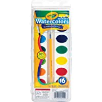 Crayola Washable Watercolor Paint Set with Brush, 16 Bright Colours, Painting Kit for Young Artists, Students…