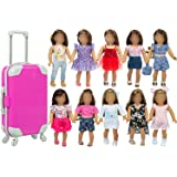 ZITA ELEMENT American 18 Inch Girl Doll Accessories Suitcase with 10 Sets Doll Clothes for 18 Inch Dolls My Our Life Generati