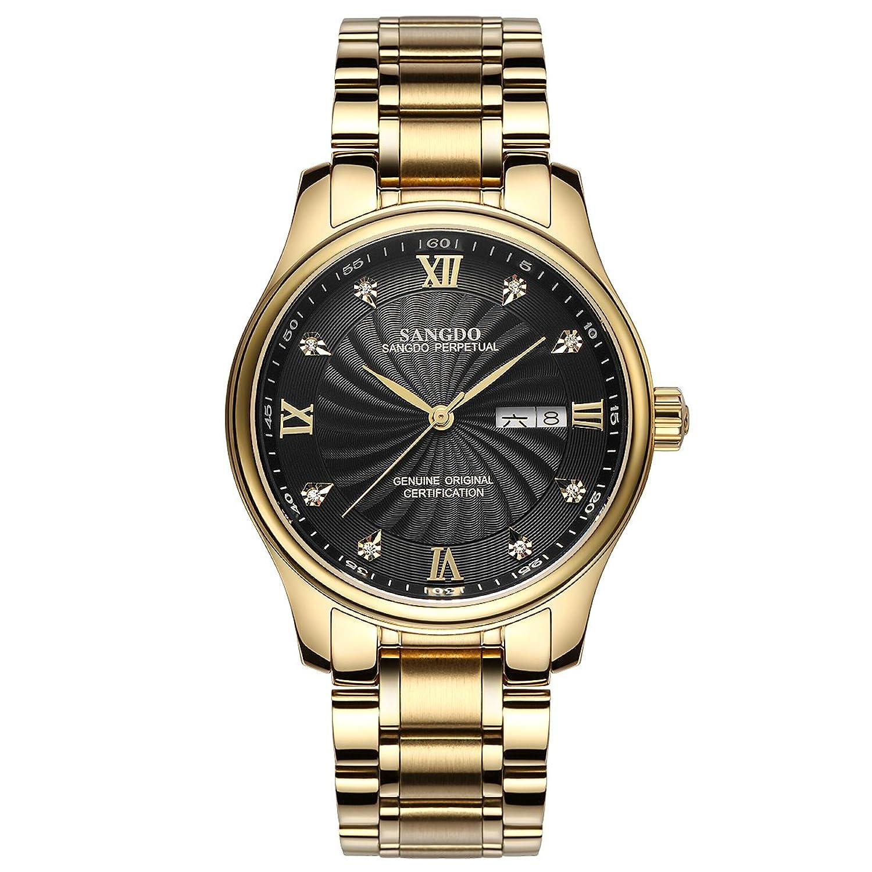 topwatch® sangdo Herren Armbanduhr Echtes Mechanisches Automatik-Uhrwerk Goldband Doppel-Kalender Diamant-Markierungen
