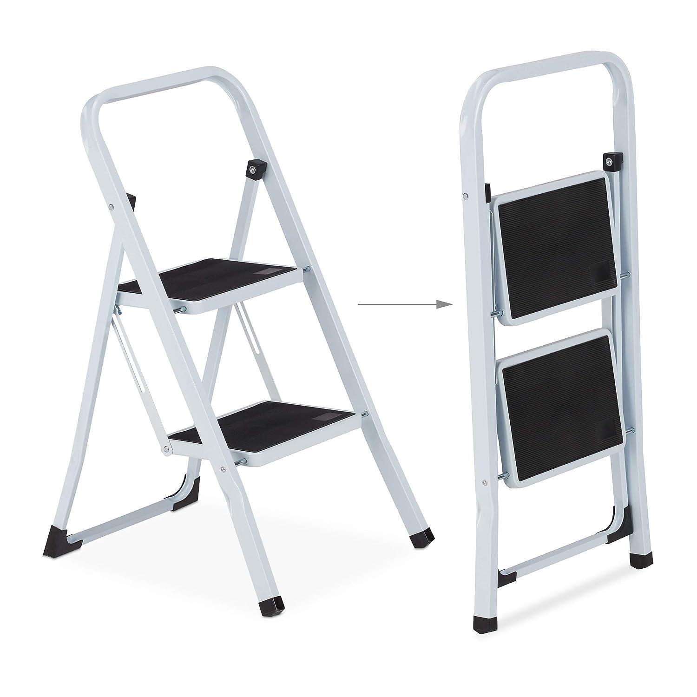Relaxdays Trittleiter mit Handlauf wei/ß//schwarz platzsparend klappbar Stahl Anti Rutsch Stufen 150 kg 2-stufig