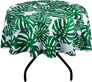 AooHome Faric Banana Leaves Tablecloth, Spill-Proof Water Repellent Table Cover Tropical Design for BBQs, Machine Washable, Heavy Weight, 60 Inch Round, Green