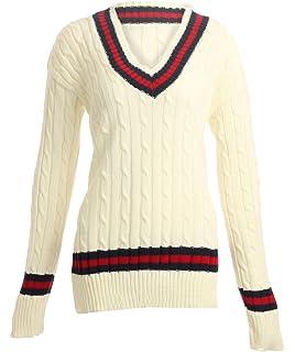 a4a2294a4600c5 Damen Cricket-Pullover mit Zopfmuster