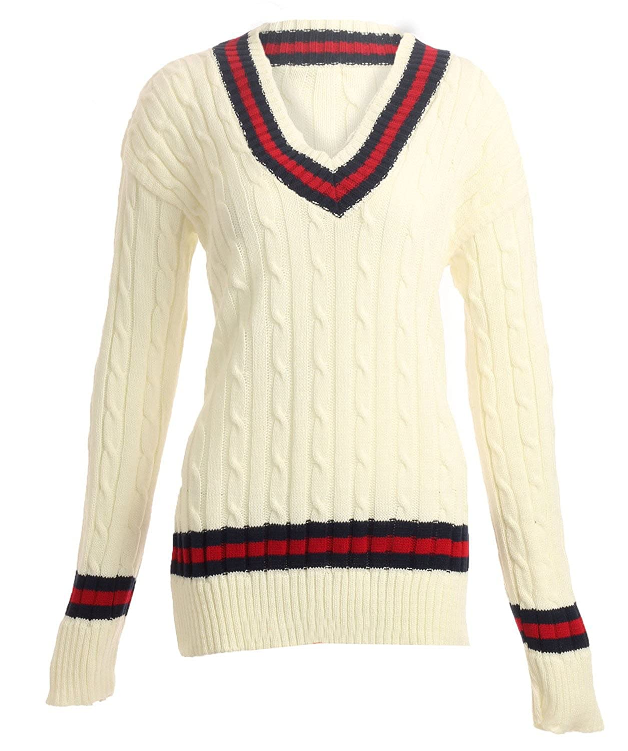 Aislinn Womens Chunky Cable Knitted Cricket Jumper One Size - Fits ...