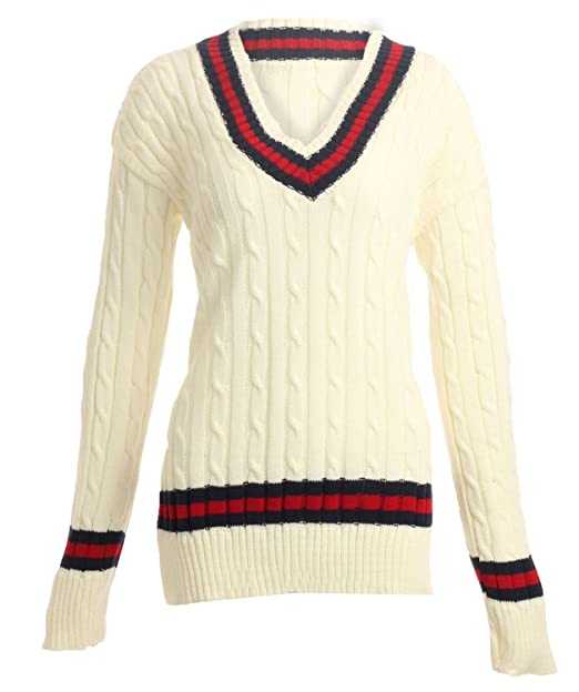 1920s Tennis Clothes | Womens and Men's Outfits Forever Womens Chunky Cable Knitted Cricket Jumper $17.07 AT vintagedancer.com