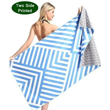 Genovega Oversized Microfiber Pool Beach Towel - Funny Quick Fast Dry Sand Free Proof Extra Large Big Outdoor Travel Rack Swim Micro Fiber Blanket Yoga Mat Personalized Women Men Blue Stripe