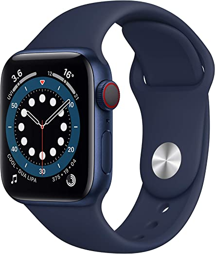 New AppleWatch Series 6 (GPS + Cellular, 40mm) - Blue Aluminium Case with Deep Navy Sport Band