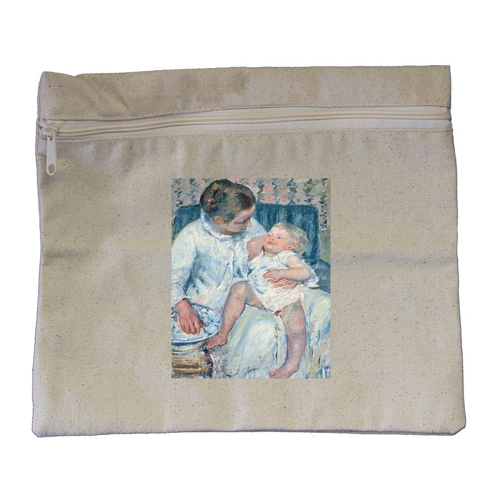 Mother About Wash Sleepy Child (Cassatt) Canvas Zippered Pouch Makeup Bag