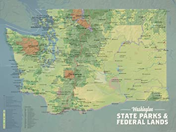 Best Maps Ever Washington State Parks & Federal Lands Map 18x24 Poster  (Natural Earth)