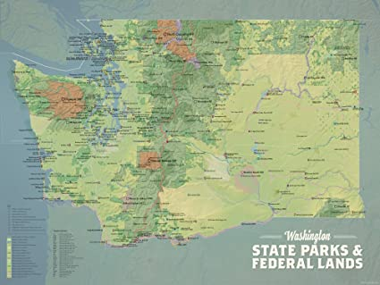 Washington State Parks Map Amazon.com: Washington State Parks & Federal Lands Map 18x24