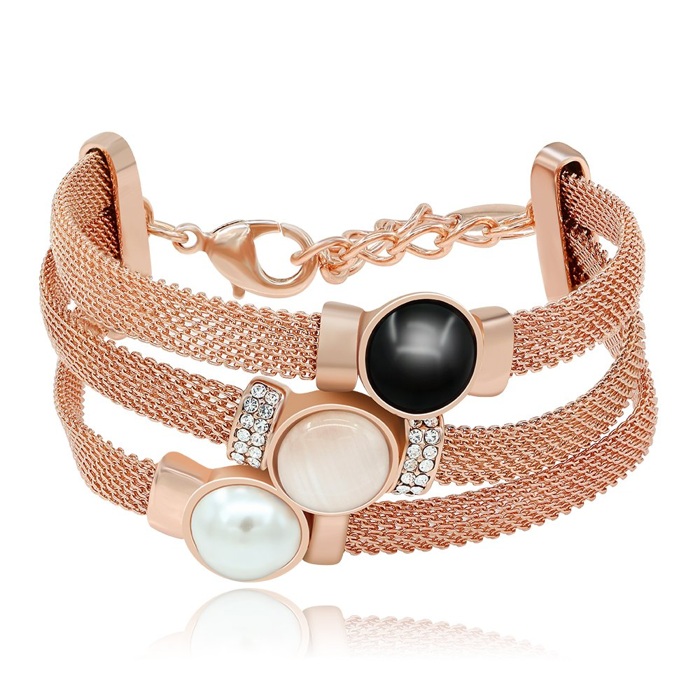 Kemstone Tri Layer Simulated Pearl Opal Crystal Rose Gold Plated Strand Bracelet,7.27 7.27 145408002-CA