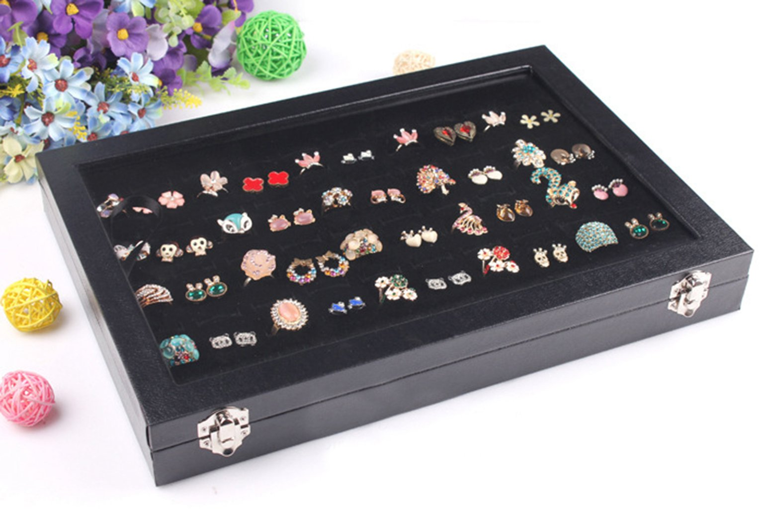 Wuligirl 100 Slot Jewelry Ring Tray Velvet Clear Lid Rings Holder Showcase Display Storage Organizer Stackable(100 Slot Ring Box) by Wuligirl (Image #3)