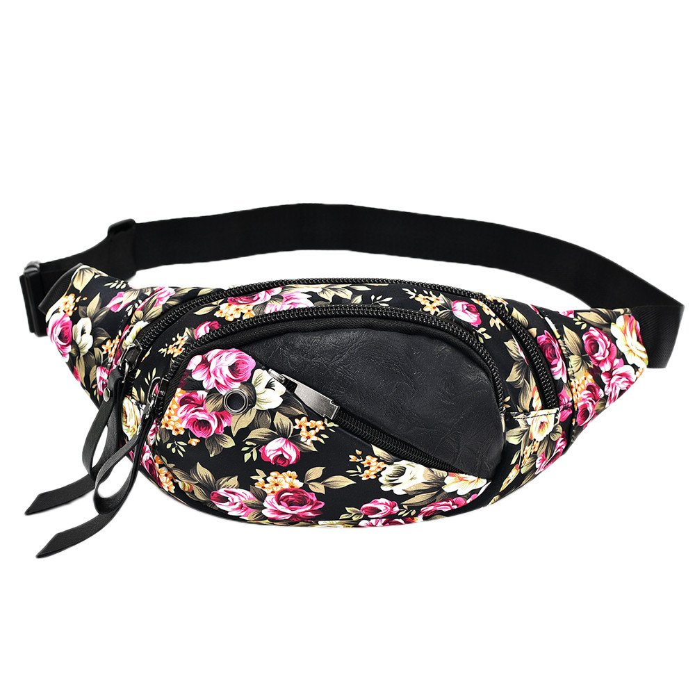Fashion Women Floral Print Crossbody Bag Chest Bag Waist Pack Messenger Shoulder Bag Casual Belt Bags Waist Bag