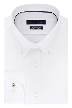5f89f864 Tommy Hilfiger Men's Dress Shirt Stretch Slim Fit Solid Buttondown Collar  at Amazon Men's Clothing store: