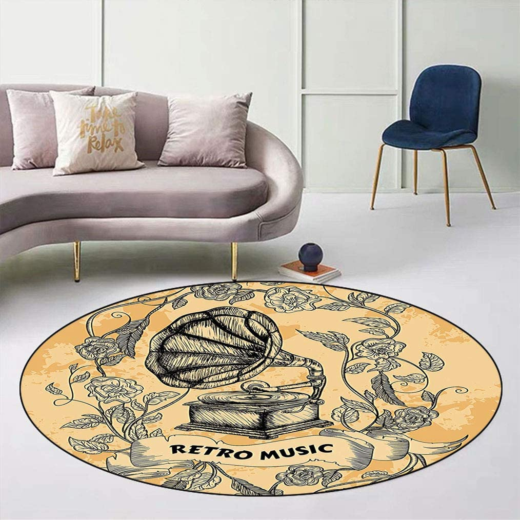 Vintage Decor Abstract Area Rug Nostalgic Gramophone Vinyl With Rose Petals Leaves With Retro Music Banner Round Carpet Chair Couch Cover For Bedroom 23 Round Orange Black Kitchen Dining