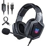 ONIKUMA Auriculares Gaming PS4 Xbox One, Auriculares con Micrófono Reducción de Ruido Estéreo con Conector