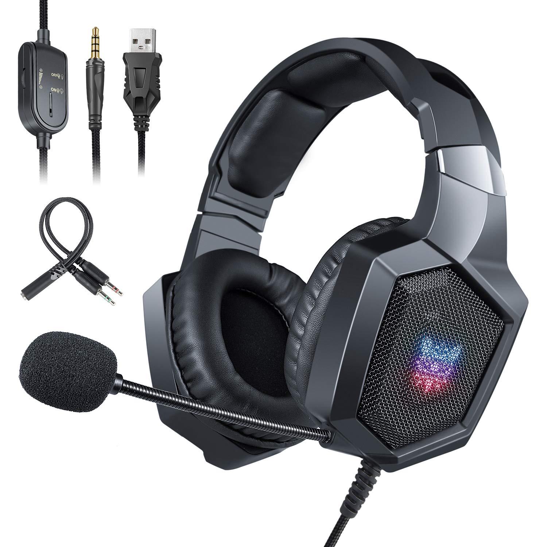 ONIKUMA Auriculares Gaming PS4 Xbox One, Auriculares con Micrófono Reducción de Ruido Estéreo con Conector de 3,5 mm y RGB LED, Compatible con PSP, Nintendo Switch, Movil