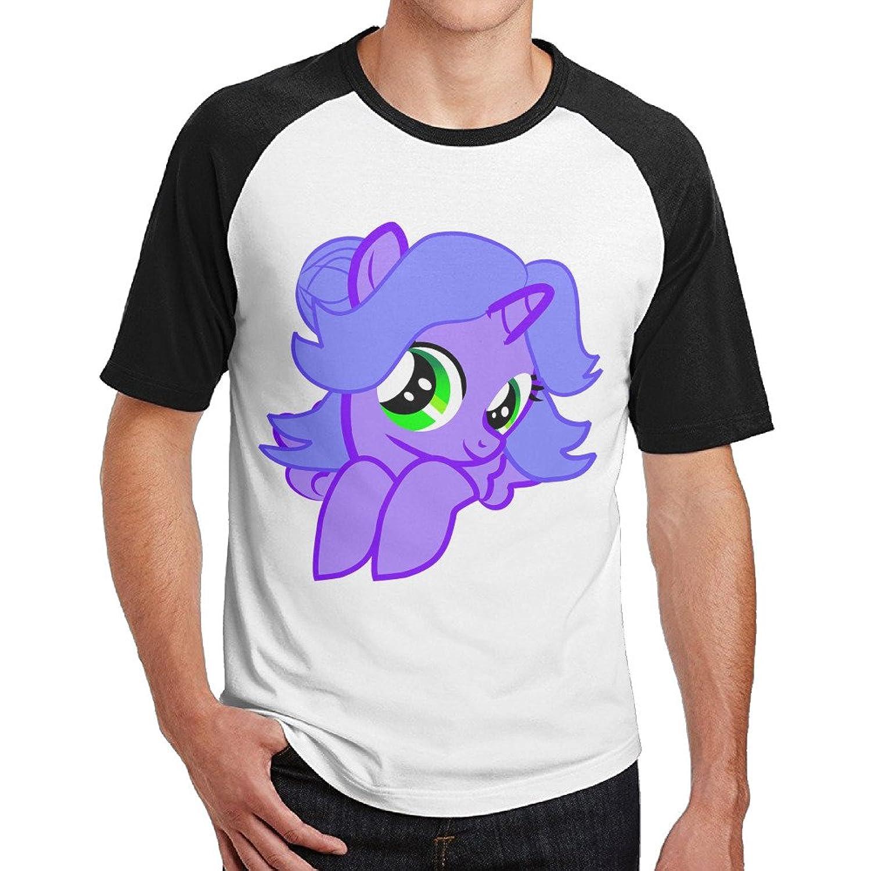 IKOU Cute Hippocampus Men's Short Sleeve Baseball Raglan T-shirt Black XL