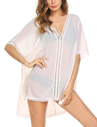 775162b573bf2 Meaneor Women Chiffon Beach Cover Ups Loose Bikini Cover-up Hollow ...