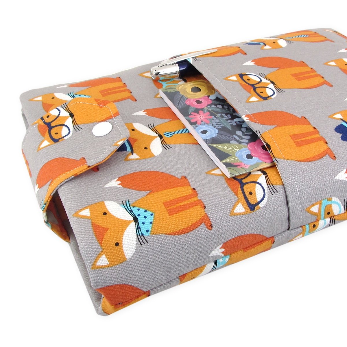 Handmade Fabric Book Sleeve - Perfect For Hardbacks Or Large Paperbacks - Padded, Cute Fox Print - Great Book Lover Gift