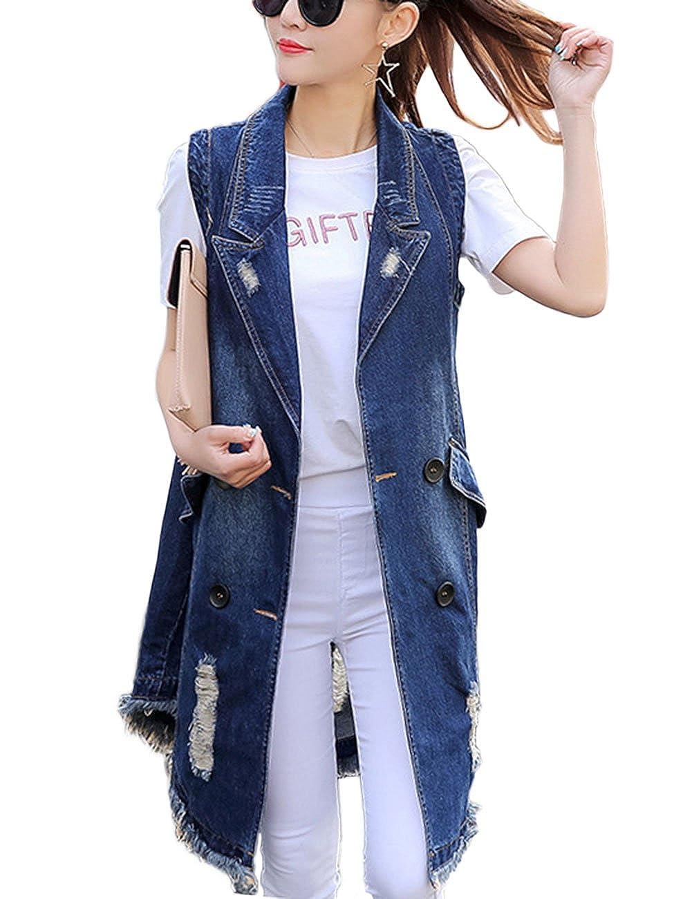 ZLSLZ Womens Girls Ripped Holes Long Length Sleeveless Denim Vest Jacket Plus Size Blue