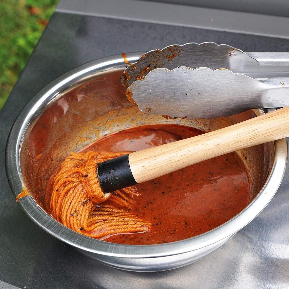 BonTime Grill Basting Brush BBQ Mop Cepillo Profesional de Barbacoa BBQ Mops con Mango de Madera para Adobo Satinado