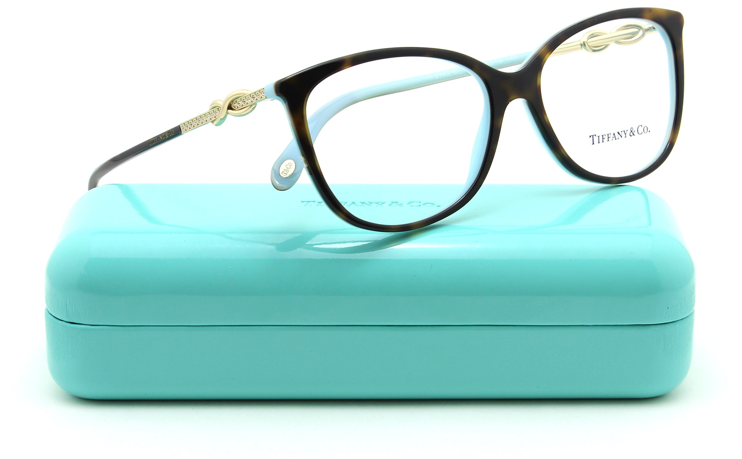 Tiffany & Co. TF 2143-B Women Oval Eyeglasses RX - able Frame (Havana Blue 8134, 53)