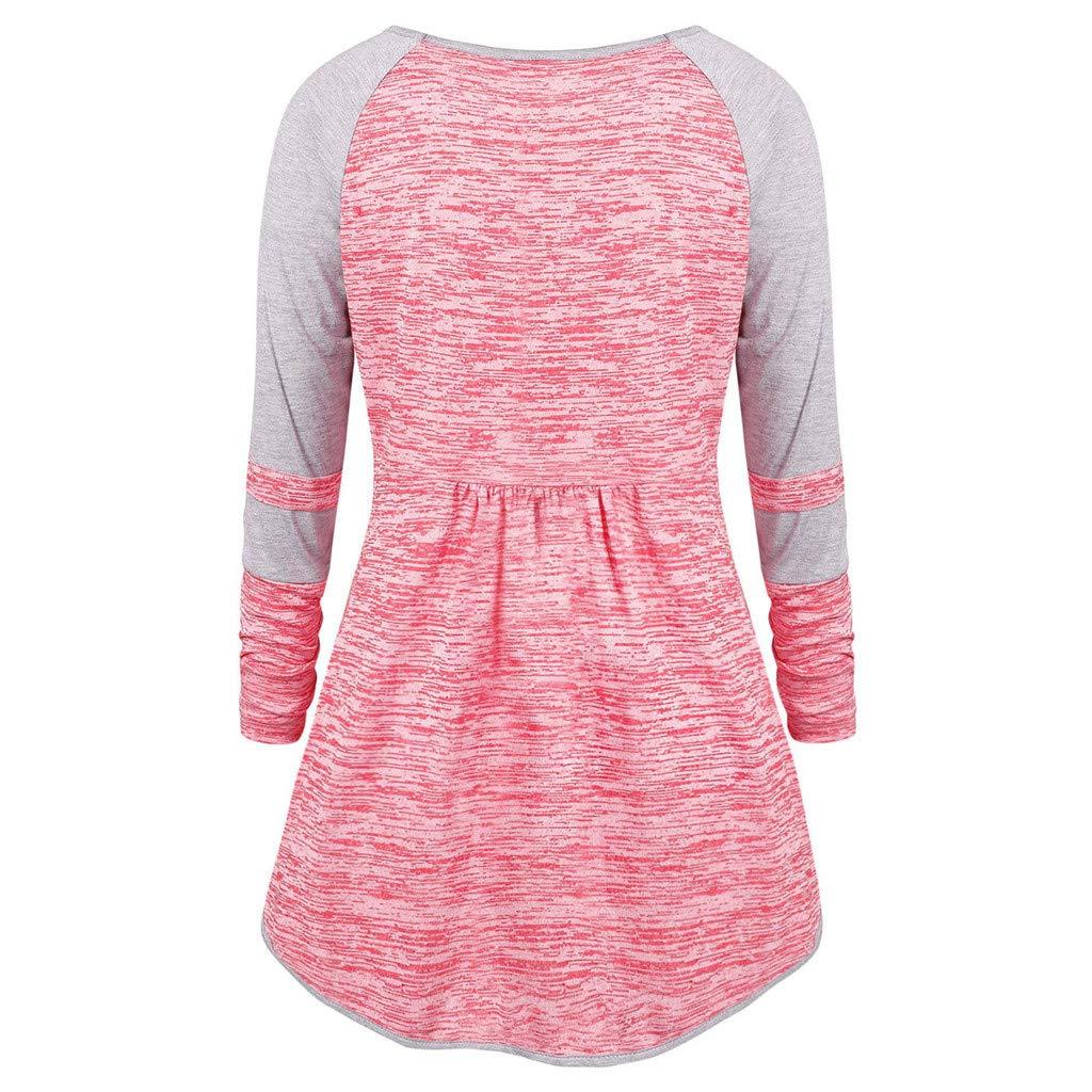 Baofull Herrenbekleidung Moda Mujer Tamaño Plue V-Cuello Acanalado Patchework Ojal Cintas Color Block Top