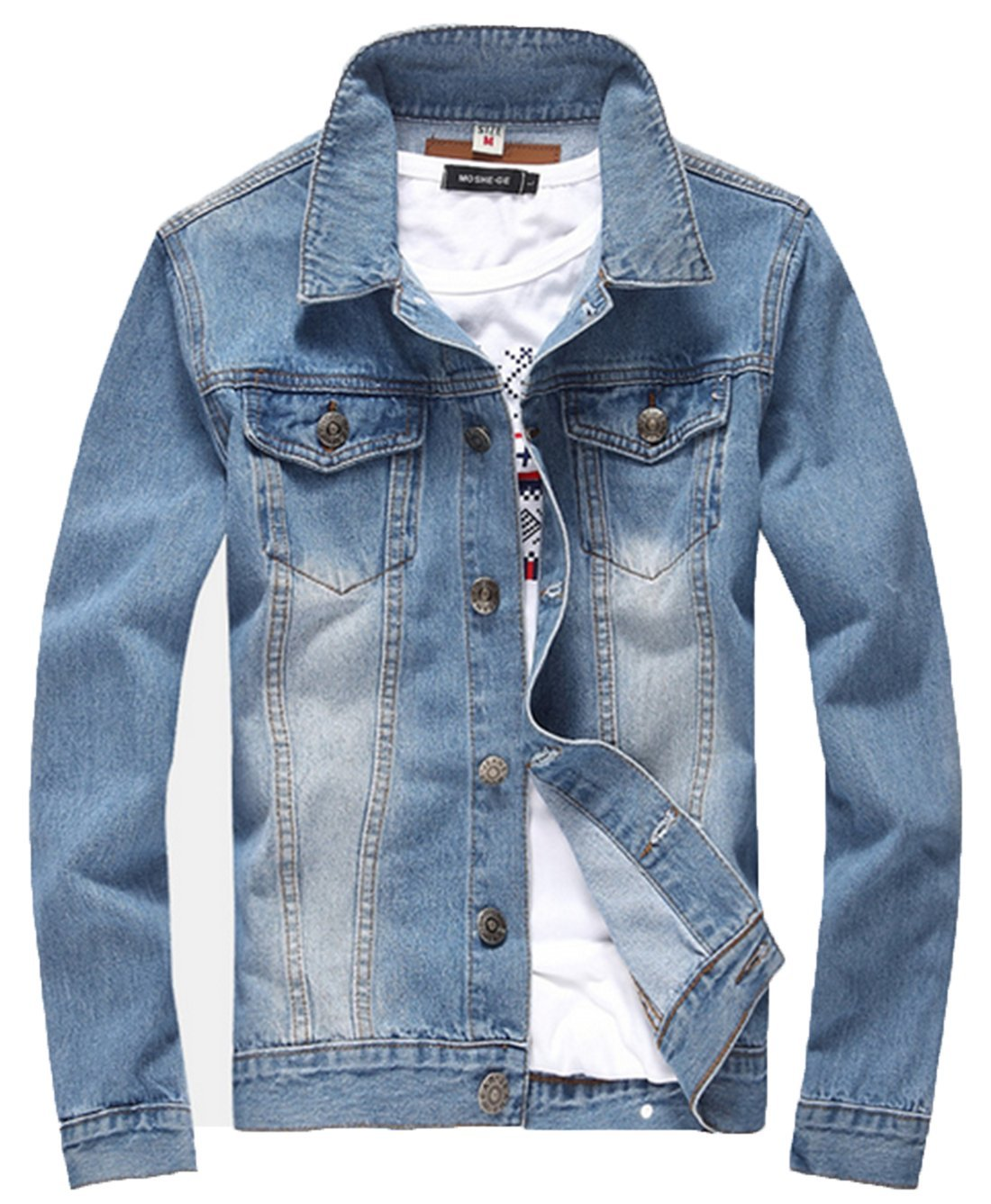 XueYin Men's Denim Jacket Slim Fit(Light Blue,L Size) by XueYin