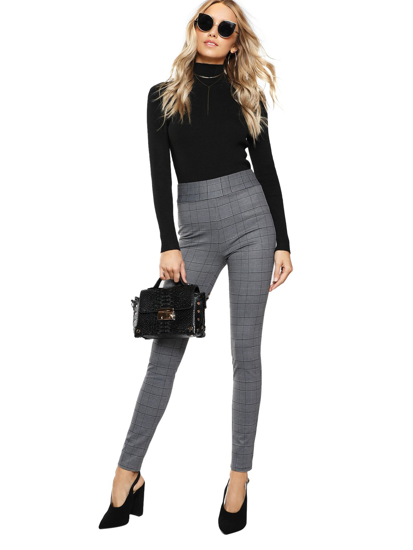 SweatyRocks Women's Casual High Waisted Ankle Plaid Pants Skinny Leggings, Grey #1, L by SweatyRocks (Image #4)