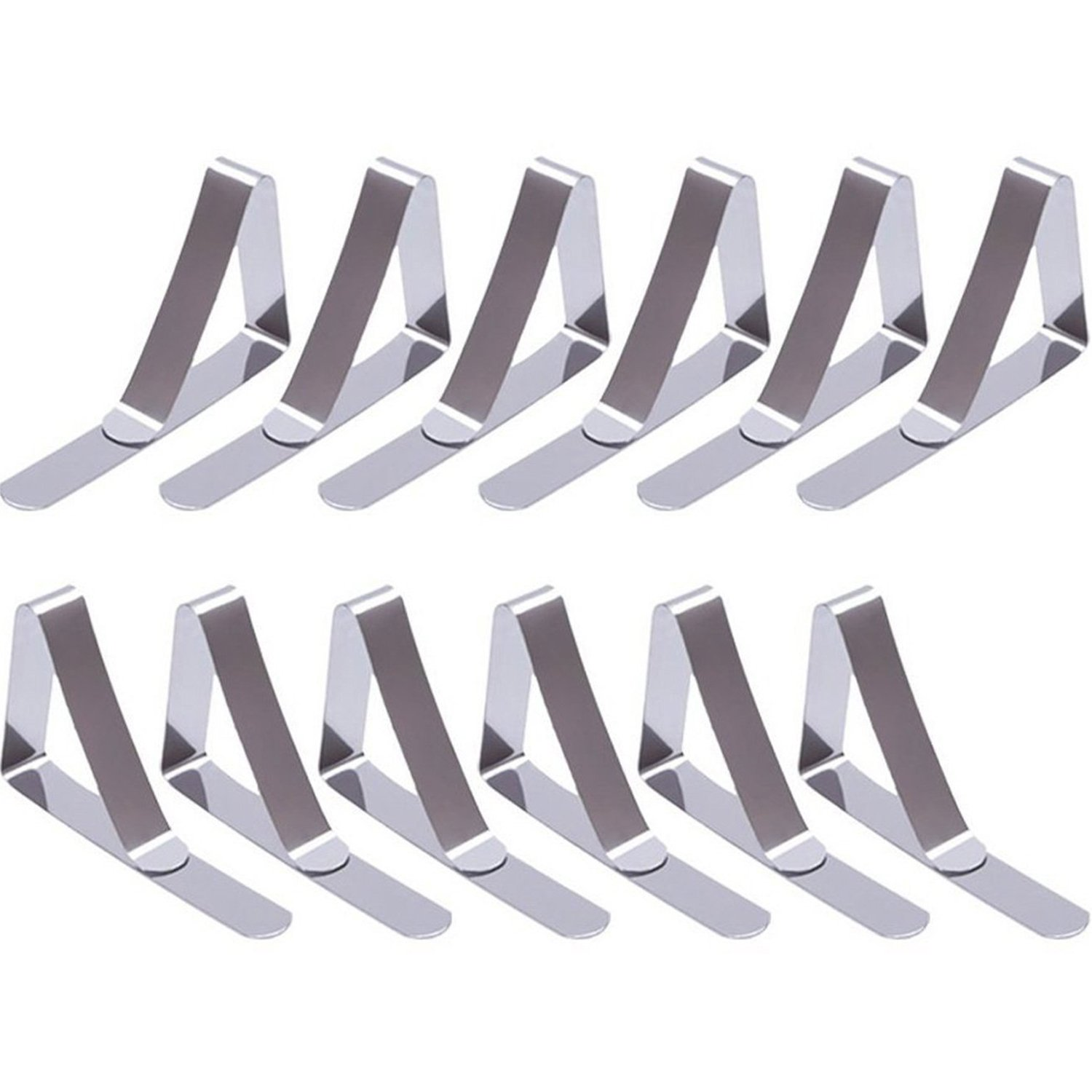 12 Packs Tablecloth Clips Stainless Steel Table Cover Clamps Table Cloth Holders (Silver) eBoot